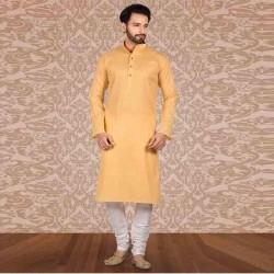 Men's Cotton Kurta Churidar Pyjama sets orange