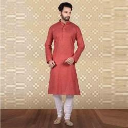 Men's Cotton Kurta Churidar Pyjama sets narangi