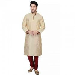Dupion Silk Men's Designer Indian Kurta Pyjama gold texture