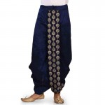 Traditional Solid Dhoti for Men blue with gold design