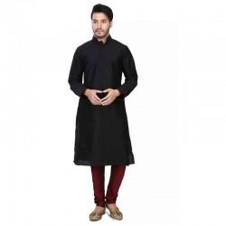 Dupion Silk Men's Designer Indian Kurta Pyjama black