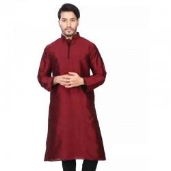 Dupion Silk Men's Designer Indian Kurta Pyjama mehndi