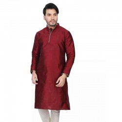 Dupion Silk Men's Designer Indian Kurta Pyjama