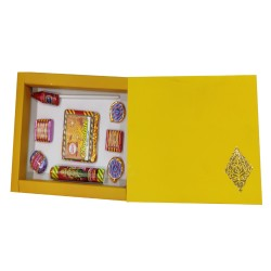 Handmade Diwali Crackers Chocolate Box- Yellow