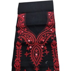 Gujrati Cotton dress material (Black With Red Work)