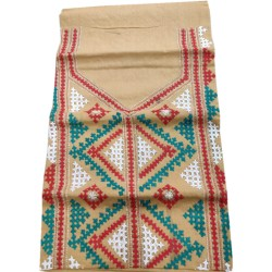 Gujrati Cotton dress material (Peach Cream with white - green and red combination work)