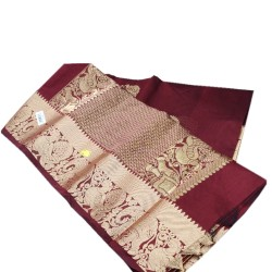 Jari handloom saree (Dark Chocolaty)