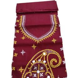 Gujrati Cotton dress material (Dark Red)
