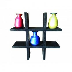 Three designer pots with stand