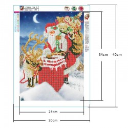 5d diamond painting living room Santa Claus part drill(Diamond+tool+canvas)
