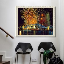 5d diamond painting living room night view full diamond full stickers(Diamond+tool+canvas)