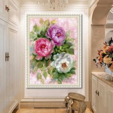 5d diamond painting living room peony flower part stick drill(Diamond+tool+canvas)