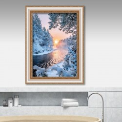 5d diamond painting living room snow scene drill(Diamond+tool+canvas)