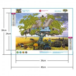 5d diamond painting living room tree house part drill(Diamond+tool+canvas)