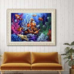 5d diamond painting living room underwater world part stick drill(Diamond+tool+canvas)