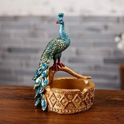 Creative Retro Resin Ashtray with Peacock Model Smoking Accessories Crafts Decoration Desktop Decoration