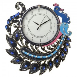 Home Decorative Wooden Diamond Peacock  Wall Clock