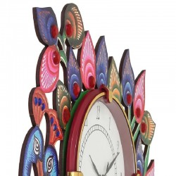 Home Decorative Wooden Wall Clock ( Peacock Pair )