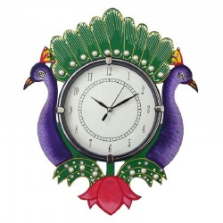 Home Decorative Wooden Wall Clock ( Purple Peacock )