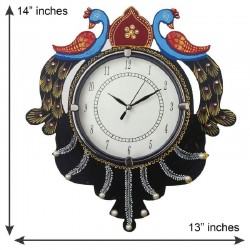 Home Decorative Wooden Wall Clock ( Reflected Peacock Pair )