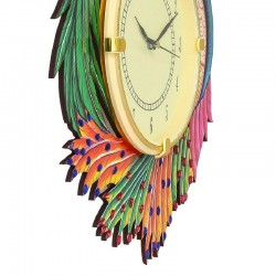 Home Decorative Wooden Tow Peacock Wall Clock