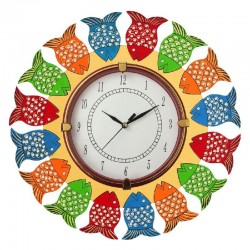 Home Decorative Wooden Wall Clock ( Multi color fish round wall clock )