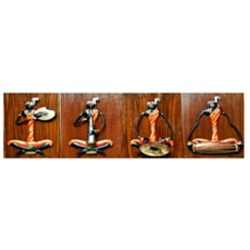 ADIVASI FEMALE MUSICIAN SET OF 4 (WOODEN BACKGROUND SMALL)