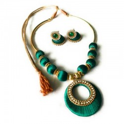 Hand Made Silk Dori Jewel Set Green