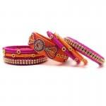 Handcrafted Designer Silk Thread Bangles for Women Handoven-Handcrafted