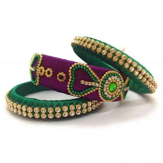 Handcrafted Designer Silk Thread Bangles For Women Handcrafted Designer Silk Thread Bangles For Women Purple Green