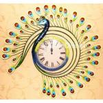 Dancing Peacock Clock Wall Hanging