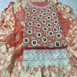 Designer Fancy Dress Material-Pink