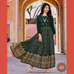 Fabdrape embroidered stitched Anarkali Suit-Green