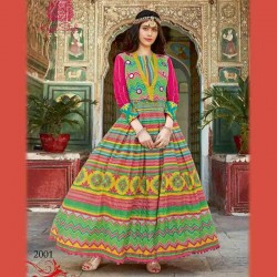 Fabdrape embroidered stitched Anarkali Suit-Multicolour