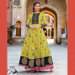Fabdrape embroidered stitched Anarkali Suit-Yellow