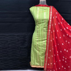 Designer Fancy Dress Material-Green