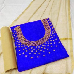 Hand Work Dress Material with Dupatta-Blue Handoven-Handcrafted
