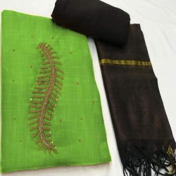 Hand Work Dress Material with Dupatta-Green Handoven-Handcrafted