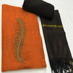 Hand Work Dress Material with Dupatta-Orange Handoven-Handcrafted