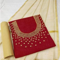 Hand Work Dress Material with Dupatta-Red Handoven-Handcrafted