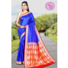Banarasi Art Silk Saree With Tanchoi Weaving With Blouse-Blue