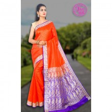 Banarasi Art Silk Saree With Tanchoi Weaving With Blouse-orange