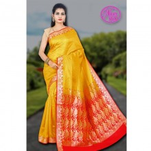 Banarasi Art Silk Saree With Tanchoi Weaving With Blouse-yellow