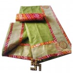 Bandhej Border Saree With Blouse-Green