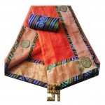 Bandhej Border Saree With Blouse-Orange