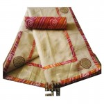 Bandhej Border Saree With Blouse-Cream Handwoven-Handcrafted
