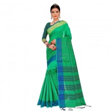 Handloom Cotton Silk Daily wear Saree with Running Blouse-Green
