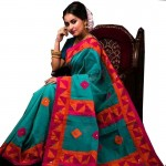 Silk Cotton Solid Color Saree with Blouse Piece-Green
