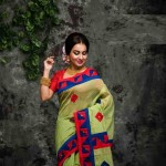 Silk Cotton Solid Color Saree with Blouse Piece-Light Green