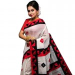 Silk Cotton Solid Color Saree with Blouse Piece-White with Red